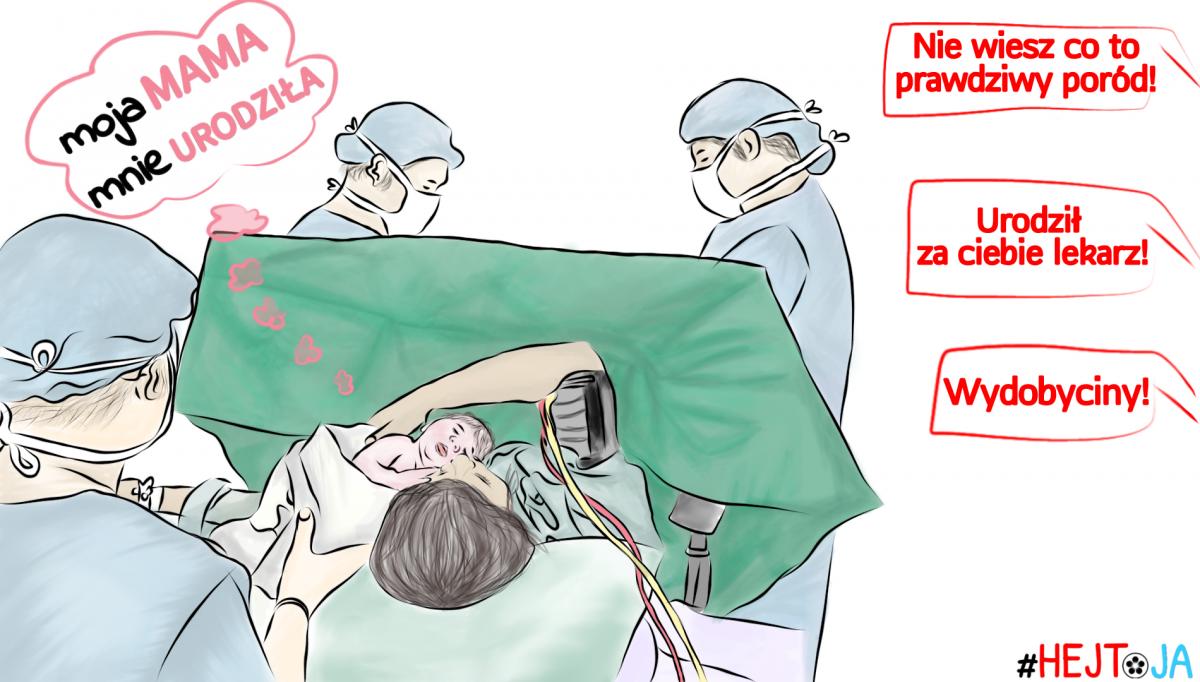 Poród poprzez cesarskie cięcie wakcji HEJ ToJA!